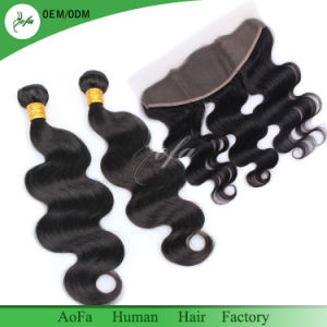 9A Brazilian Virgin Human Hair Ear to Ear Closure with 2/3 Bundles 100% Human Body Wave Bundles pictures & photos