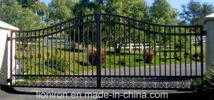 Elegant Eyebrow Design Wrought Iron Double Swing Gates for House pictures & photos