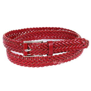 Red Handmade Woven Webbing Leather Belt for Women (YD-15038)