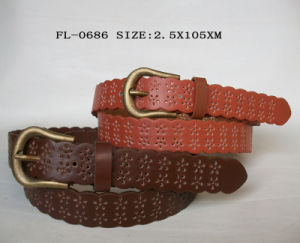 PU Belt with Perforted Fl-0676 pictures & photos