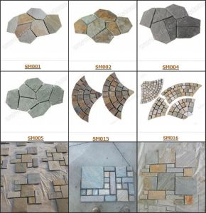 Back Mesh Slate Tile-Iregular Slate Crazy Paving Flagstone pictures & photos