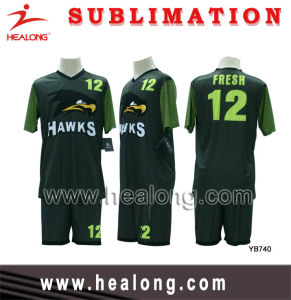 Full Sublimation Royal Green and Black Customized Design Soccer Set (Football Set) pictures & photos