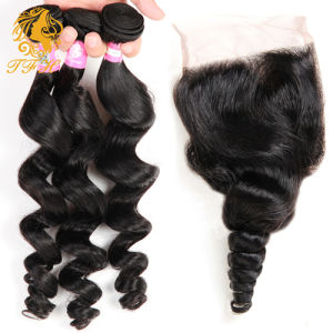 Brazilian Virgin Hair with Closure Hair Bundles with Lace Closure Brazilian Loose Wave Hair Weft with Closure pictures & photos