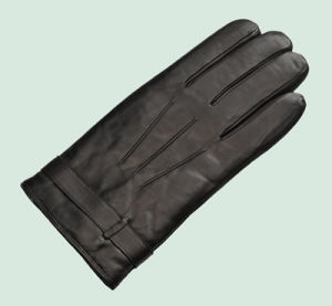 Men′s Black Sheep Skin Leather Glove with Polyester Lining (SW248)
