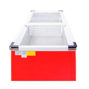 Sliding Door Flat Cabinet Bottom Freezer Refrigerator with Stainless Corner pictures & photos