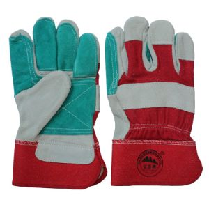 Double Palm Cowhide Split Leather Cut Resistant Working Gloves pictures & photos