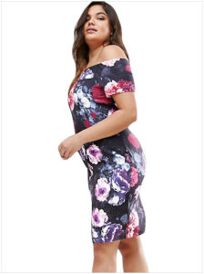 Plus Size Sexy off Shoulder Floral Bardot Dress pictures & photos