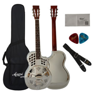 China Aiersi Parlour Size Brass Body Resonator Guitar with Cutway pictures & photos