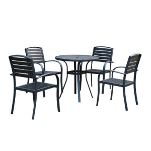 Patio Outdoor Furniture Plastic Wood Table Arm Chair (J812) pictures & photos