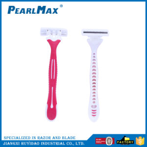Women Three Blade Rubber Handle Disposable Razor pictures & photos
