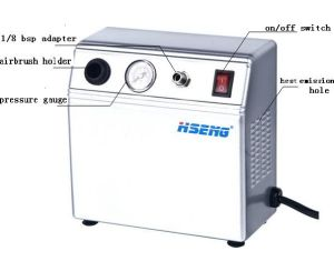 Hseng Mini Air Compressor As16-1k for Air Nail Art 220V pictures & photos