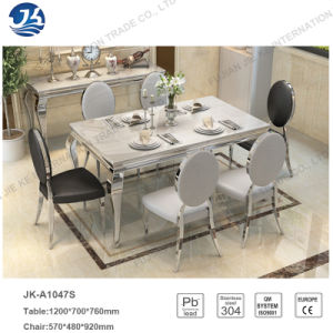 Elegant Dining Table with Marble Desktop