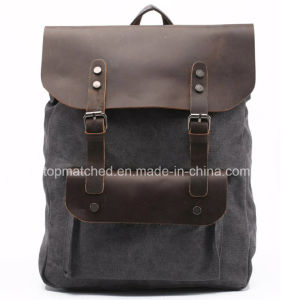Canvas Backpack Men and Women Backpack Outdoor Travel Backpack Crazy Horse Leather Backpack pictures & photos