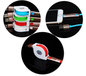 Retractable TPE Micro USB Data Charging Cable for Mobile Phone pictures & photos