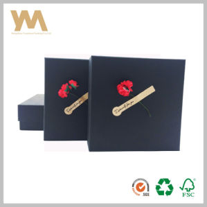 Black Gift Packaging Box with Flower pictures & photos