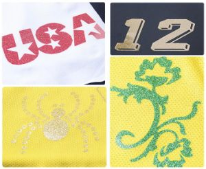 Glitter Heat Transfer Printing Sticker for Garments pictures & photos