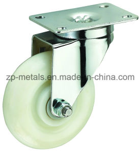 Medium Sized White PP Swivel Caster Wheel