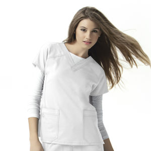 Womens Stretch Sporty V-Neck Scrub Short Sleeve Nurse Uniform (A612) pictures & photos