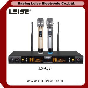 Ls-Q2 Professional Karaoke Microphone Double Channels UHF Wireless Microphone