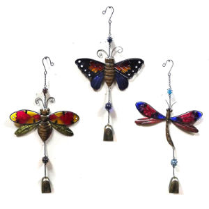 2 Asst Garden Metal Butterfly W. Stained Glass Windbell Craft pictures & photos