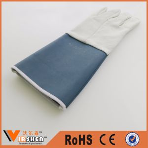 Long Cuff Cow Leather Work Gloves pictures & photos