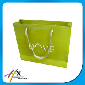 Guangzhou Factory Shopping Paper Bag with Ribbon Handle pictures & photos