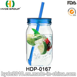 16oz Wholesale Insulated Plastic Mason Jar with Straw (HDP-0167) pictures & photos