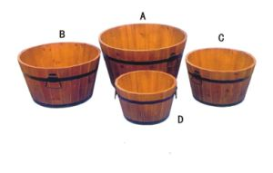 Round Wooden Garden Planters Outdoor Plants Flowers Pot Display pictures & photos