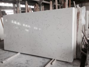 Artificial Engineered Stone Carrara White Quartz for Kitchen Countertops pictures & photos