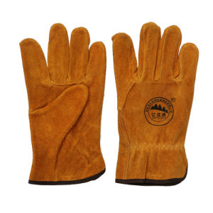 Cow Split Leather Safety Protective Driving Gloves pictures & photos