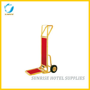 Hotel Gold Chrome Finish Baggage Trolley Luggage Cart pictures & photos