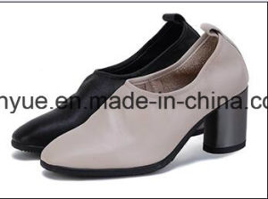 Hot Sale Fashion Kid Skin Chunky Heel Lady Leather Shoe pictures & photos
