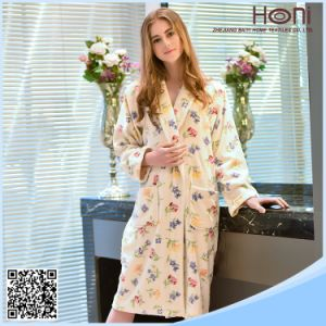 Women Soft Cotton Printed Fleece Kimono Bathrobe pictures & photos
