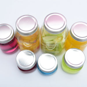 Haonai Ball Shape Glass Mason Jar/Glass Jam Jar/Glass Food Jar with Silver Metal Lid, Glass Container pictures & photos