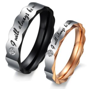 Titanium Steel Diamond Fashion Mens Women Couple Stainless Steel Rings Jewelry pictures & photos