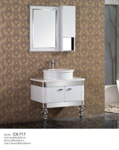 Modern Stainless Steel Single Bathroom Vanity with Basin on The Countertop pictures & photos