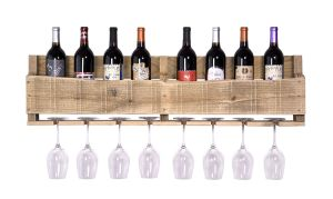 Natural Wooden Wall Mounted Wine Bottle Rack with Glass Rack pictures & photos