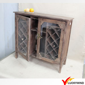 Glass Doors Vintage Brown Country Retro Wooden Drinks Cabinet pictures & photos