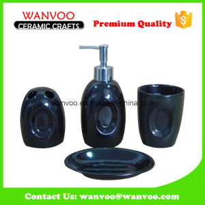 4-Piece Custom Made Oval Black Bath Accessory Set for Home Usage pictures & photos