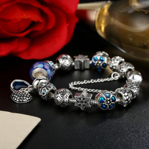 Blue Heart Pendant & Safety Chain Blue Beads Openwork Charms Bracelets Jewelry pictures & photos
