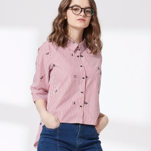 Ladies Fashion Stripe Printed Women Shirt pictures & photos