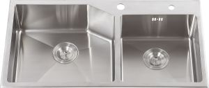 S2201 Stainless Steel Double Bowl Handmade Sink Topmount pictures & photos