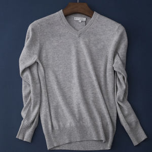 Elegant Men′s Merino Shirt Cashmere Sweater V Neck Pullover Sweater pictures & photos