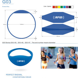 Durable Silicone RFID Tag 1k Wristbands RF Bracelet pictures & photos