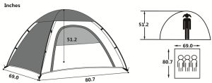 Half-Moon Style Door, 2 Person Lightweight Camping/Traveling Family Dome Tent with Carry Bag pictures & photos
