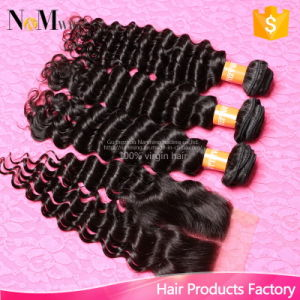 Indian Curly Virgin Hair with Closure, Unprocessed Indian Virgin Hair with Closure Deep Wave Human Hair Bundle with Lace Closure pictures & photos