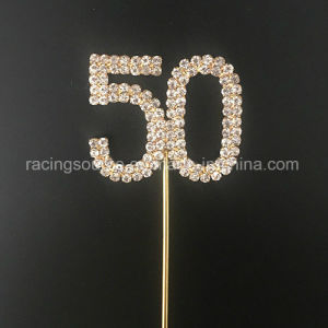 50th Number Gold Wedding Annivesary Rhinestone Wedding Cake Topper for Birthday Party pictures & photos