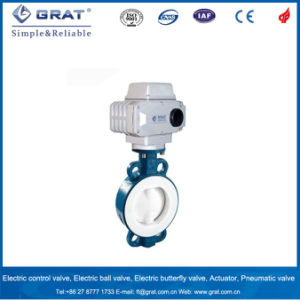 PTFE Lined Cast Steel Electric Butterfly Valve for Chemical Fertilizer pictures & photos