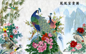 The Phoenix Riches and Honour Diagram with Rivers Around and Butterflies Carps and Peony Scenery Model No.: Wl-0216 pictures & photos
