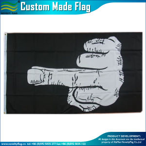 3X5FT Flying Banner Indoor Outdoor Black White Middle Finger Flag (J-NF01F09061) pictures & photos